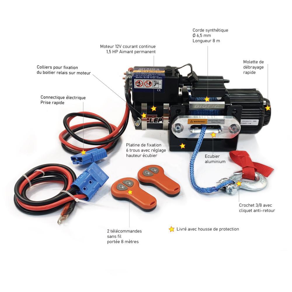Kit treuil électrique 1,6 T porte bateau + coffre pour batterie