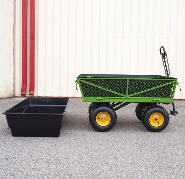 Chariot de jardin avec caisse plastique amovible